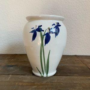 Blue Iris Double-sided Pottery Vase